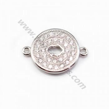 925 Sterling Silver rhodium Bridge round with zirconium 12x16.5mm  X 1 pc