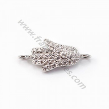 925 Sterling Silver rhodium Bridge hand of Fatma with zirconium 8.5x19mm  X 1 pc