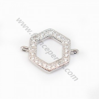 Spacer silver 925 and strass Hexagone 10x12mm x 1pc