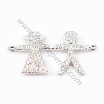 Spacer silver 925 and strass boy and girl 13 x 27mm x 1pc