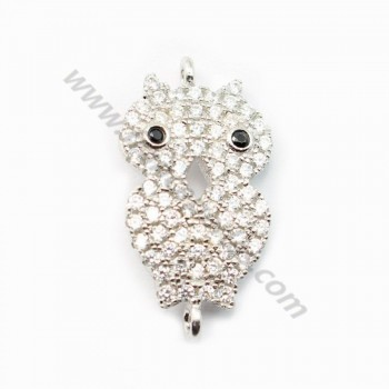 Sterling Silver 925 rhodium  owl 21.5*11.5mm with ring 1.5mm X 1 pc