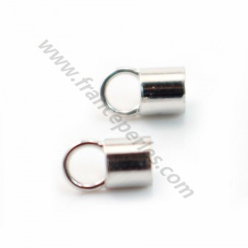 Terminators for cords, 925 Sterling Silver Rhodium  3mm X 4pcs