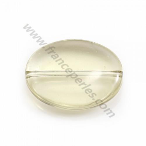 Lemon quartz in yellow color, in oval shape, 15 * 20mm x 2pcs