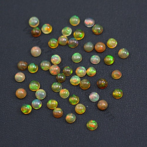 Ethiopian opal in cabochon, multicolored, in round shape, 4mm x 1pc