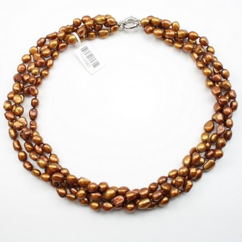 Torsade Color Freshwater Pearl Brown Necklace Camille