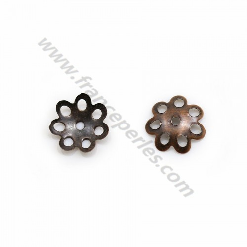 Cup on metal in copper color, in shape of a flower, 8mm x 40pcs