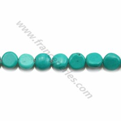 Reconstituted turquoise, in round flat shape, 5mm x 40 cm