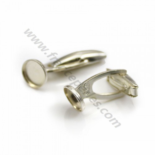 Cufflink, in 925 silver for 8mm round cabochon, 27.5 * 9mm x 2pcs