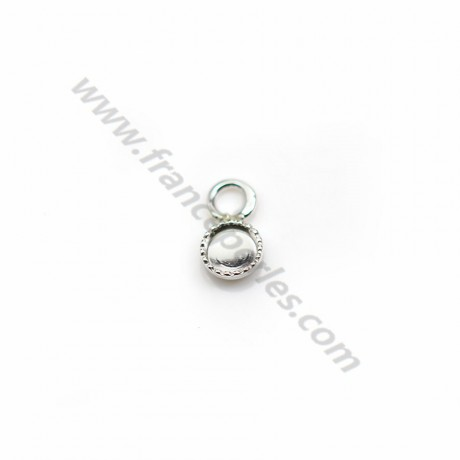 Pendant in 925 silver, with set for round cabochon of 4mm x 2pcs