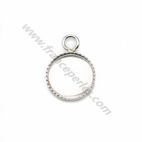 Pendant in 925 silver, with set for round cabochon of 10mm x 1pc