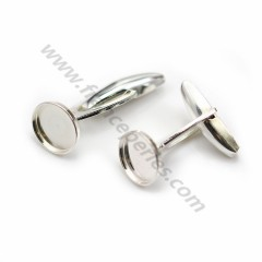 Cufflink, in 925 silver for 10mm round cabochon, 25 * 10.5mm x 2pcs