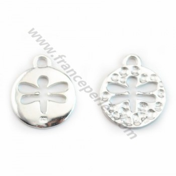 Round cut Dragonfly charm 925 sterling silver 15mm  X 1 pc