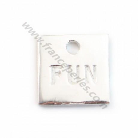 925 Silver  Fun Square charm 10mm X1 pcs