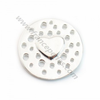 925 Sterling Silver heart spacer 14mm X1 pc