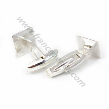 Cuff link squared for cabochon Sterling silver 925 ,12mm x 2pcs