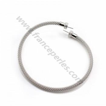 Bracelet jonc flexible avec sreasse pour semi-percées ,argent 925, x 1pc