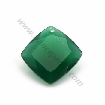 Agate pendant, in green color, square shaped, 18mm x 1pc
