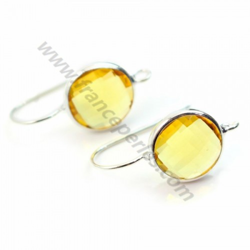 Earrings : pierre set glass round silver-plated 12.5mm x 2 pcs