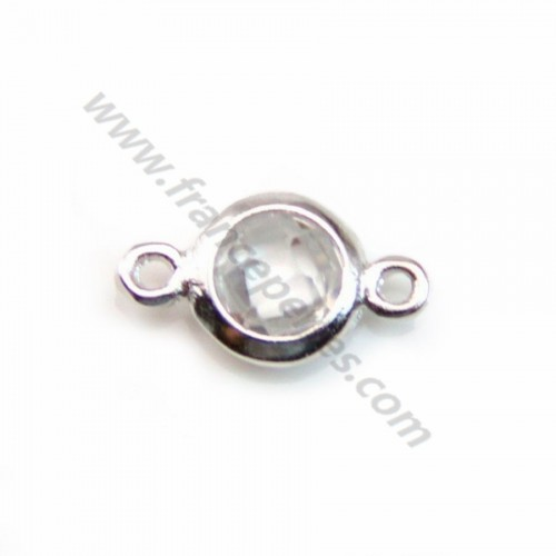 Spacer sterling silver 925 and  zirconium crystal 5*9mm x 1pc