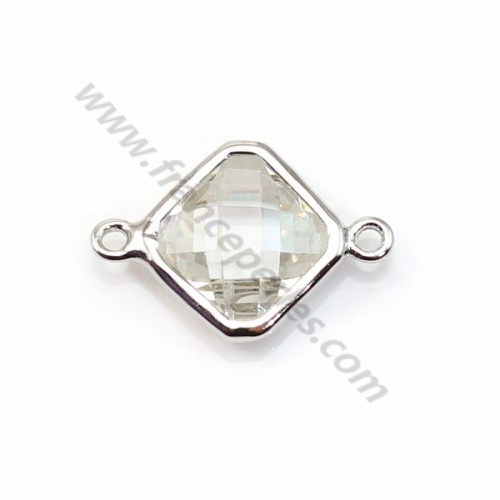 Spacer sterling silver 925 and zirconium crystal rhombus 10*17mm x 1pc