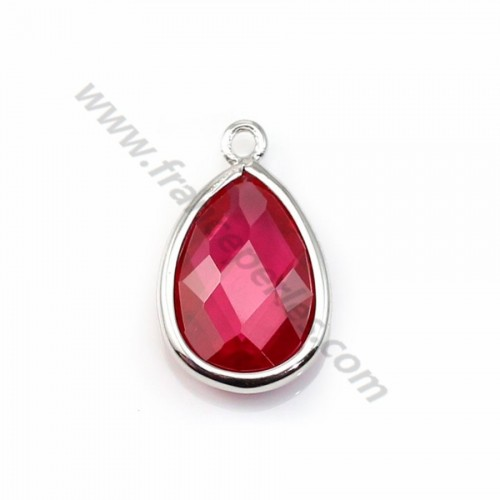 Spacer sterling silver 925 and  zirconium ruby drop 9.5*15.5mm x 1pc