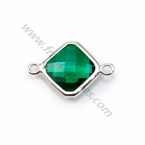 Spacer sterling silver 925 and  zirconium emerald rhombus 10*17mm x 1pc