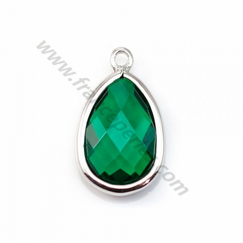 Spacer sterling silver 925  and  zirconium emerald drop 9.5*15.5mm x 1pc
