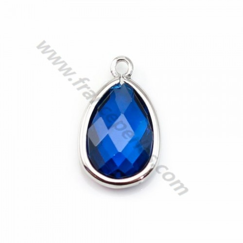 Spacer sterling silver 925 and  zirconium sapphire drop 9.5*15.5mm x 1pc