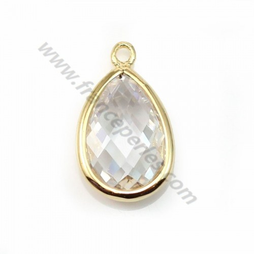 Spacer sterling silver 925 golden and  zirconium crystal drop 9.5*15.5mm x 1pc