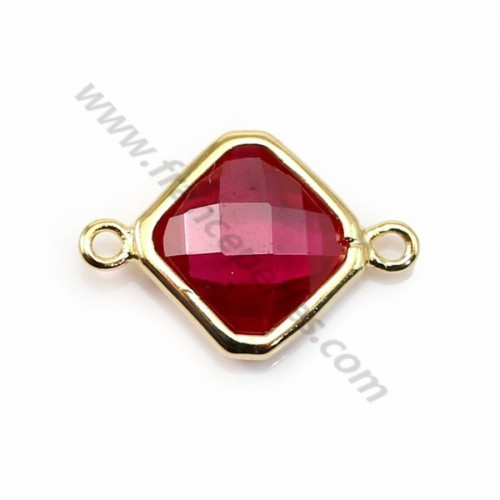 Spacer sterling silver 925 golden and zirconium ruby rhombus 10*17mm x 1pc