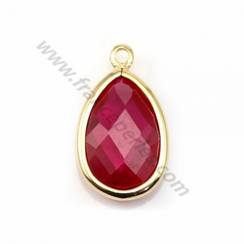 Spacer sterling silver 925 golden and  zirconium ruby drop 9.5*15.5mm x 1pc