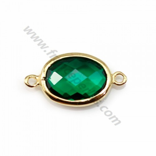 Spacer sterling silver 925 golden and  zirconium emerald 9.5*17.5mm x 1pc