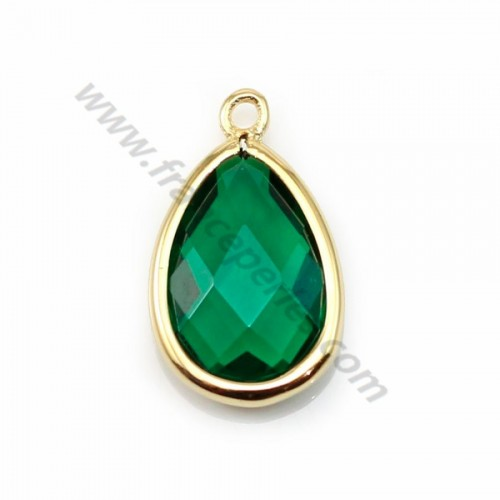 Spacer sterling silver 925  golden and  zirconium emerald drop 9.5*15.5mm x 1pc