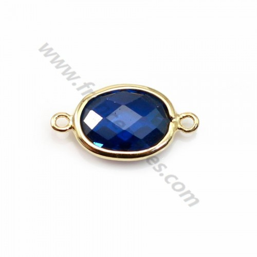 Spacer sterling silver 925 golden and  zirconium sapphire 9.5*17.5mm x 1pc