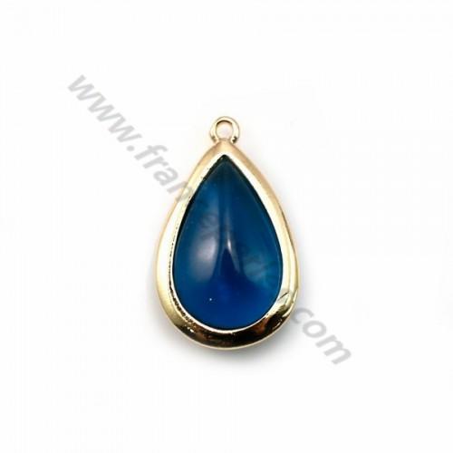 Drop-shape bleu glass set in golden metal 13.5x22mm x 1pc