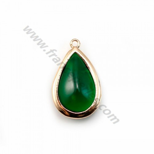 Drop-shape green glass set in golden metal 13.5x22mm x 1pc