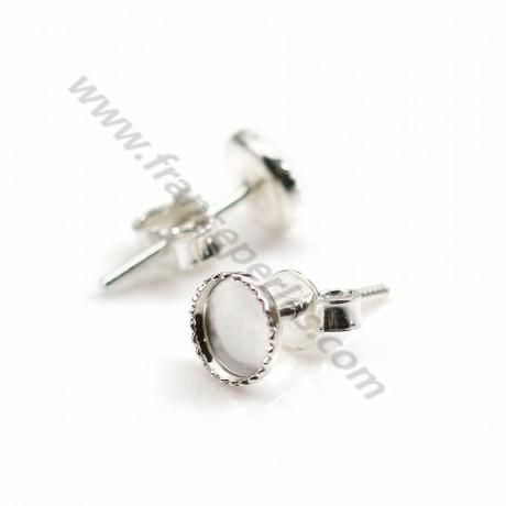 2pcs Sterling 925 Silver Round Ear Stud Base Earring Findings Jewelry Making