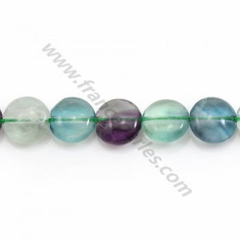 Fluorite in flat round shape, 10mm x 40cm