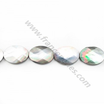 Gray mother-of-pearl faceted oval beads 16x20mm x 4 pcs