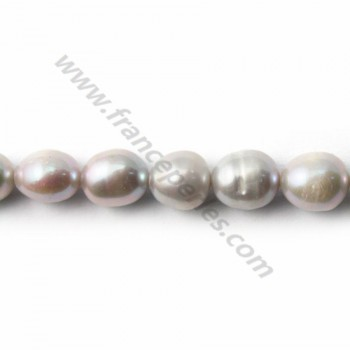 Perles d'eau Douce Grise Oval 8*12mm X 4pcs