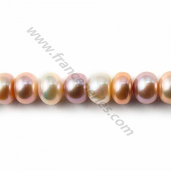 Mauve freshwater pearl roundel 6*10mm X 40 cm