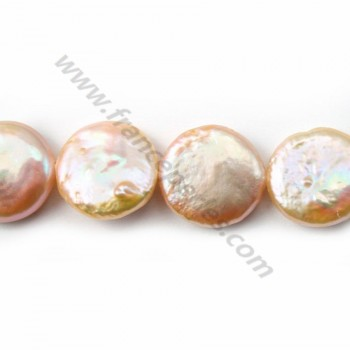 salmon freshwater pearl rond plat 16-17mm X 40cm