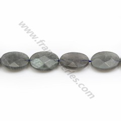 Labradorite grey, in the shape of a faceted ovale 13*18mm x 39cm