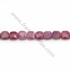 Red Ruby, in faceted square shape, measuring 6mm x 6 pcs