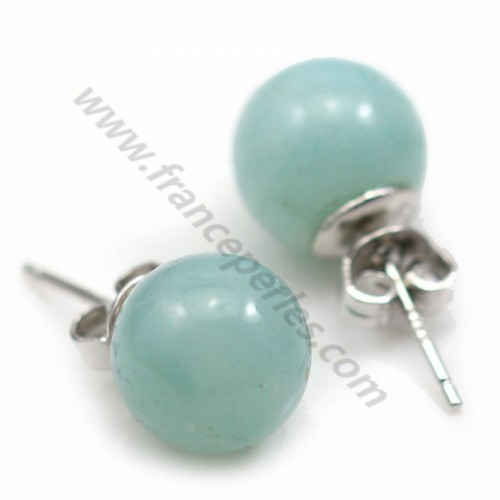Earring Silver 925  green agate dormeuse x 2pcs