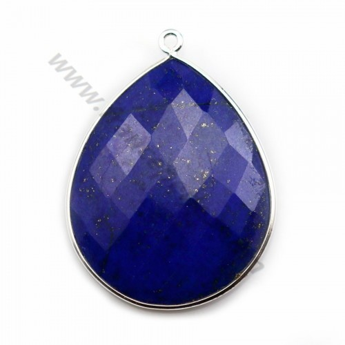 Lapis lazuli pendant set in silver, in the shape of a faceted drop, 26*31mm x 1pc