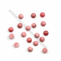 Pink rhodochrosite cabochon, in round shape, in size of 6mm x 5 pcs