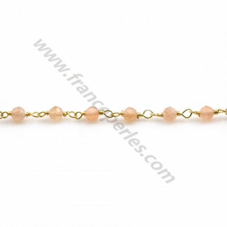Gold Plated Silver Chain Carnelian with  of  3-4mm x 20cm