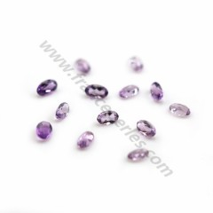 Clear amethyst for inlay ,3x5mm, in faceted oval shape x 2pcs