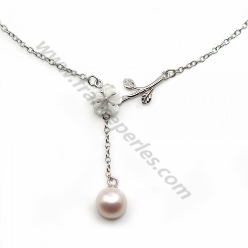 Chaîne en argent 925 rhodié maille ovale & nacre pour perle semi percée x 45cm